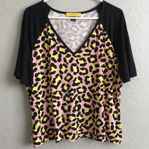 St John animal cheetah print top blouse XL